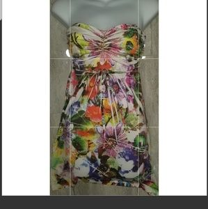Multicolored tropical strapless dress
